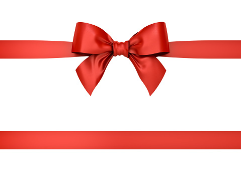 Red Gift Ribbon Bow Isolated On White Background 3d Rendering Stock Photo - Download Image Now