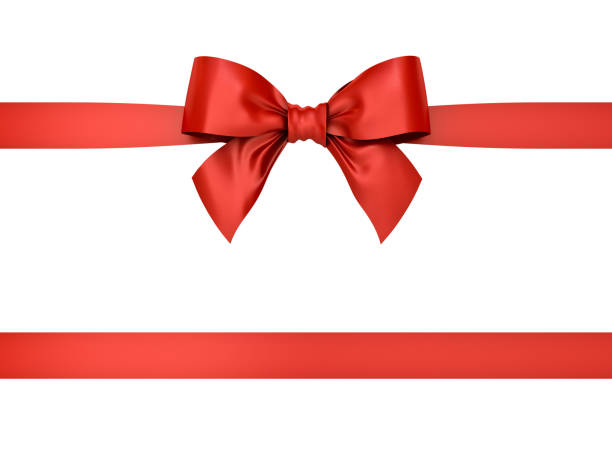 red gift ribbon bow isolated on white background . 3d rendering - ribbon sewing item stock photos and pictures