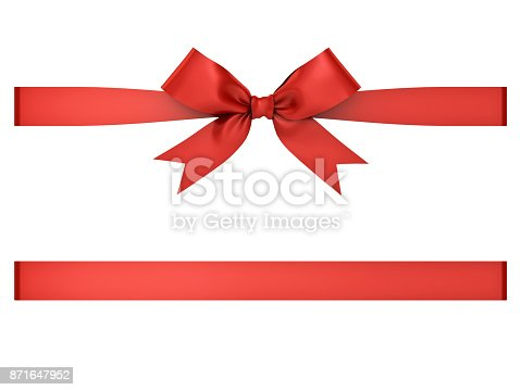 istock Red gift ribbon bow isolated on white background . 3D rendering 871647952