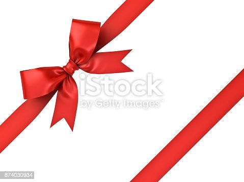 istock Red gift ribbon bow isolated on white background 874030934