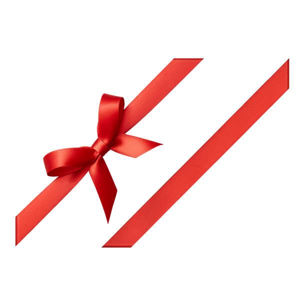 roten geschenkband gebunden in einem bogen auf weißem hintergrund, ausschneiden - geschenkschleife stock-fotos und bilder