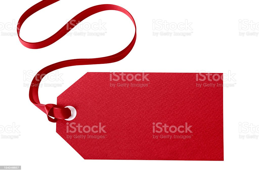 Red gift tag stock photo