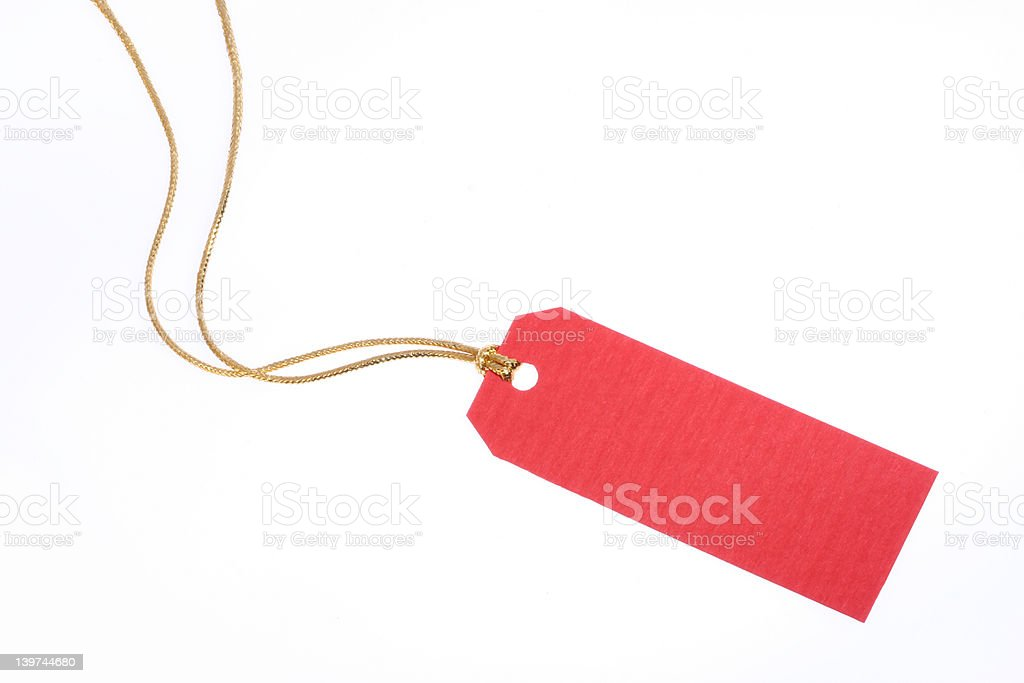 Red Gift Tag with Golden Rope royalty-free stock photo
