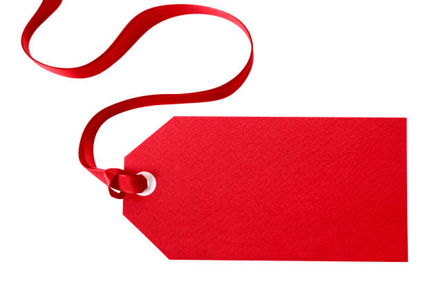 red gift tag with ribbon isolated on white - label stock pictures, royalty-free photos & images