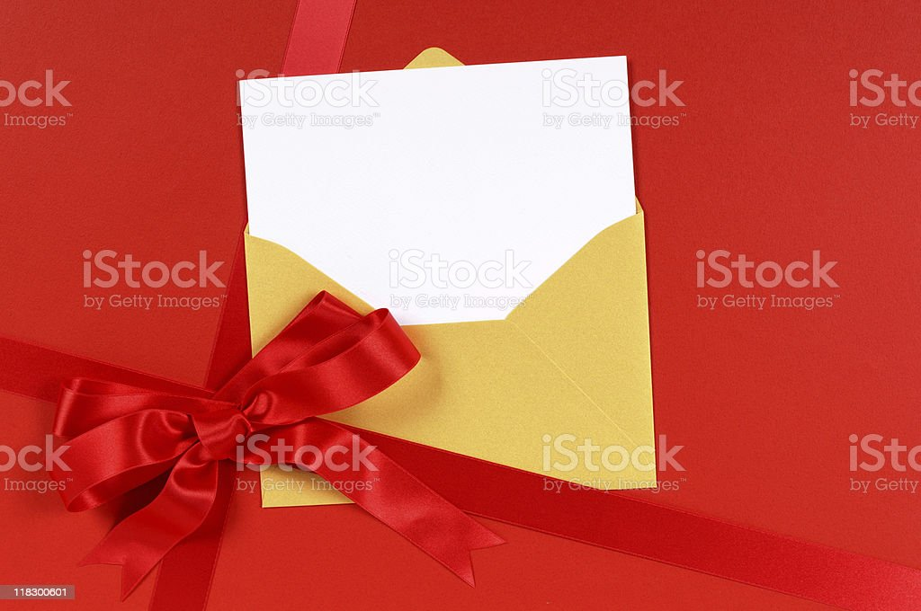 Red gift with blank greetings card royalty-free stock photo