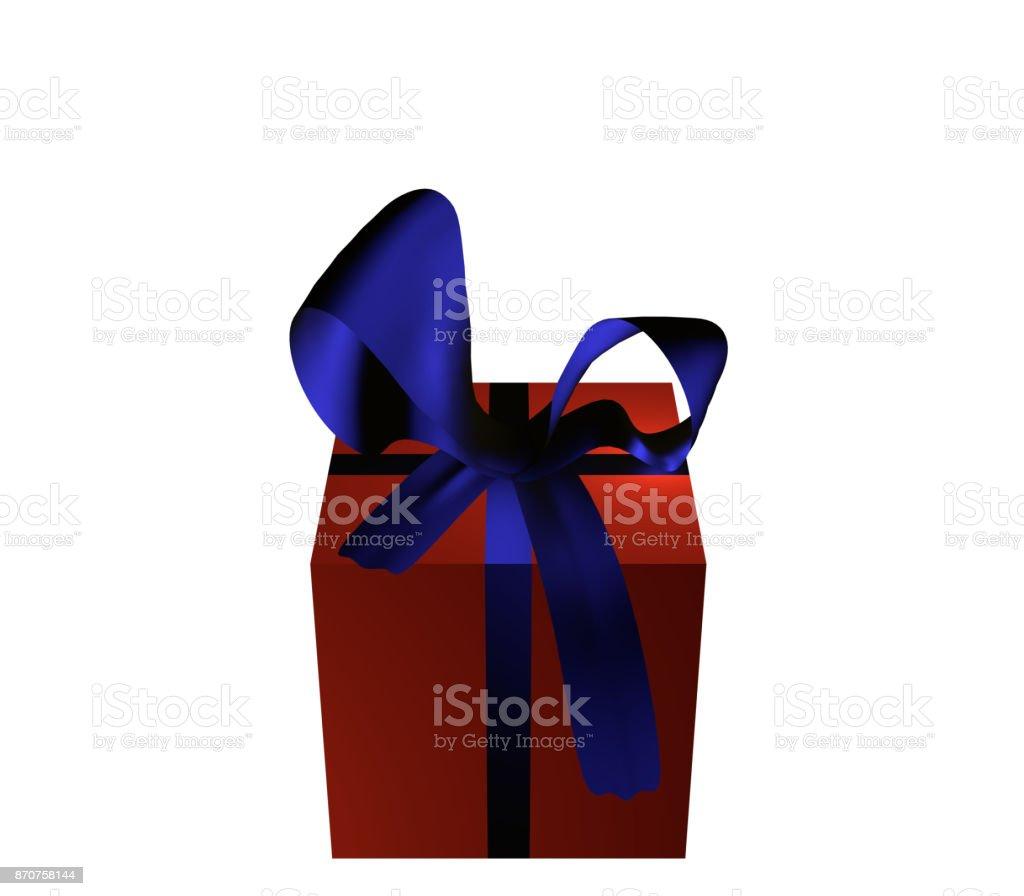 Rotes Geschenk Mit Blauer Schleife Auf Weiß Isoliert Stock Photo Download Image Now