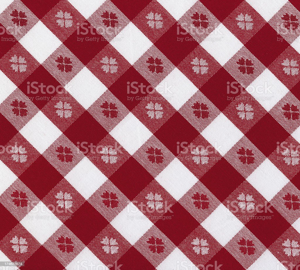 Red Gingham Tablecloth With Ornament Royalty Free Stock Photo