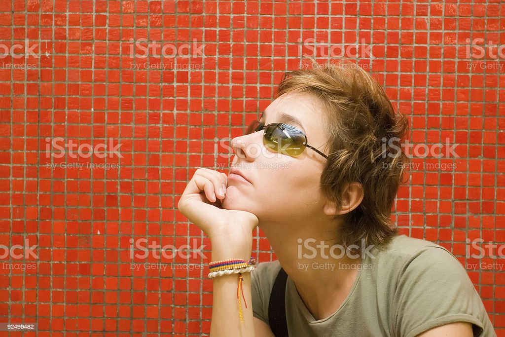 Red girl - daydreaming1 royalty-free stock photo