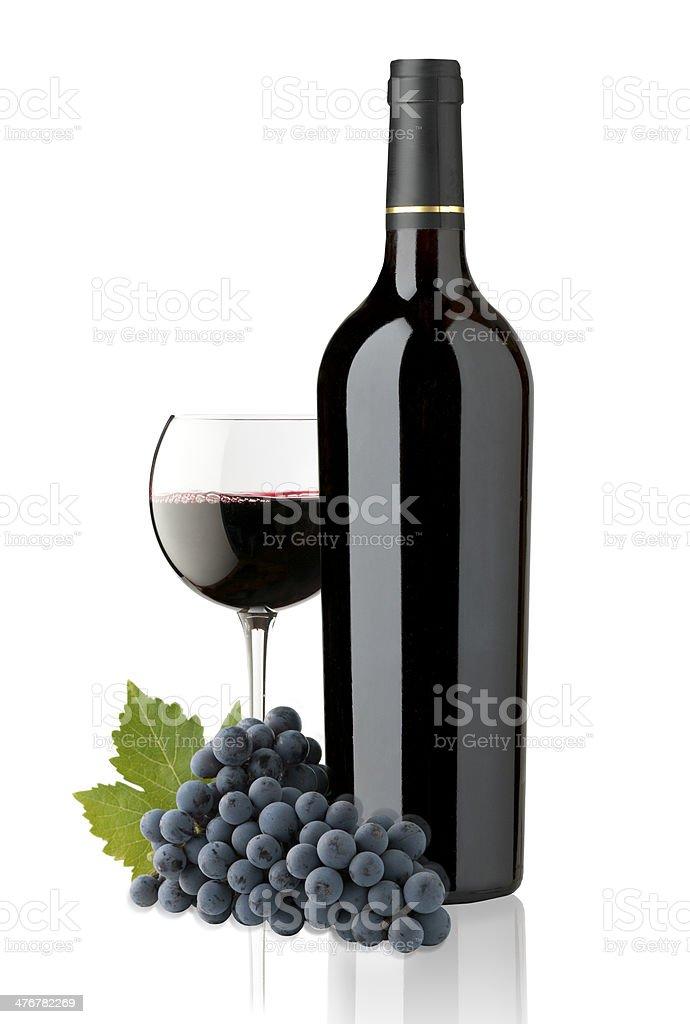 Rojo copa y botella de vino - foto de stock