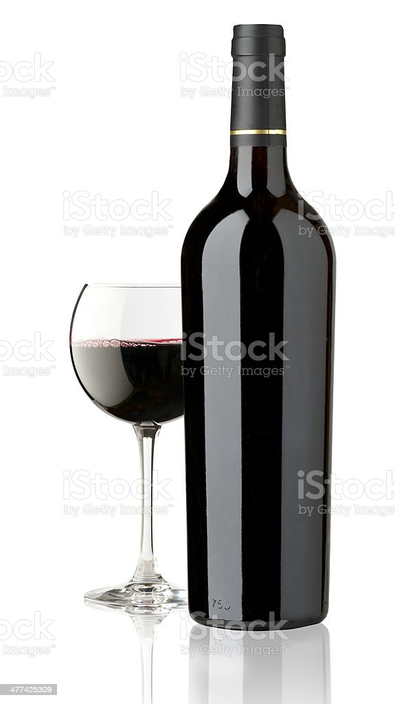 red glass and bottle wine royalty-free stock photo
