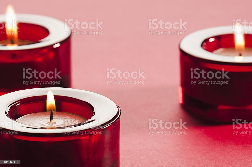 Red Glass Candle Holders With Lit Tea Light Candles Stock Photo Download Image Now Istock