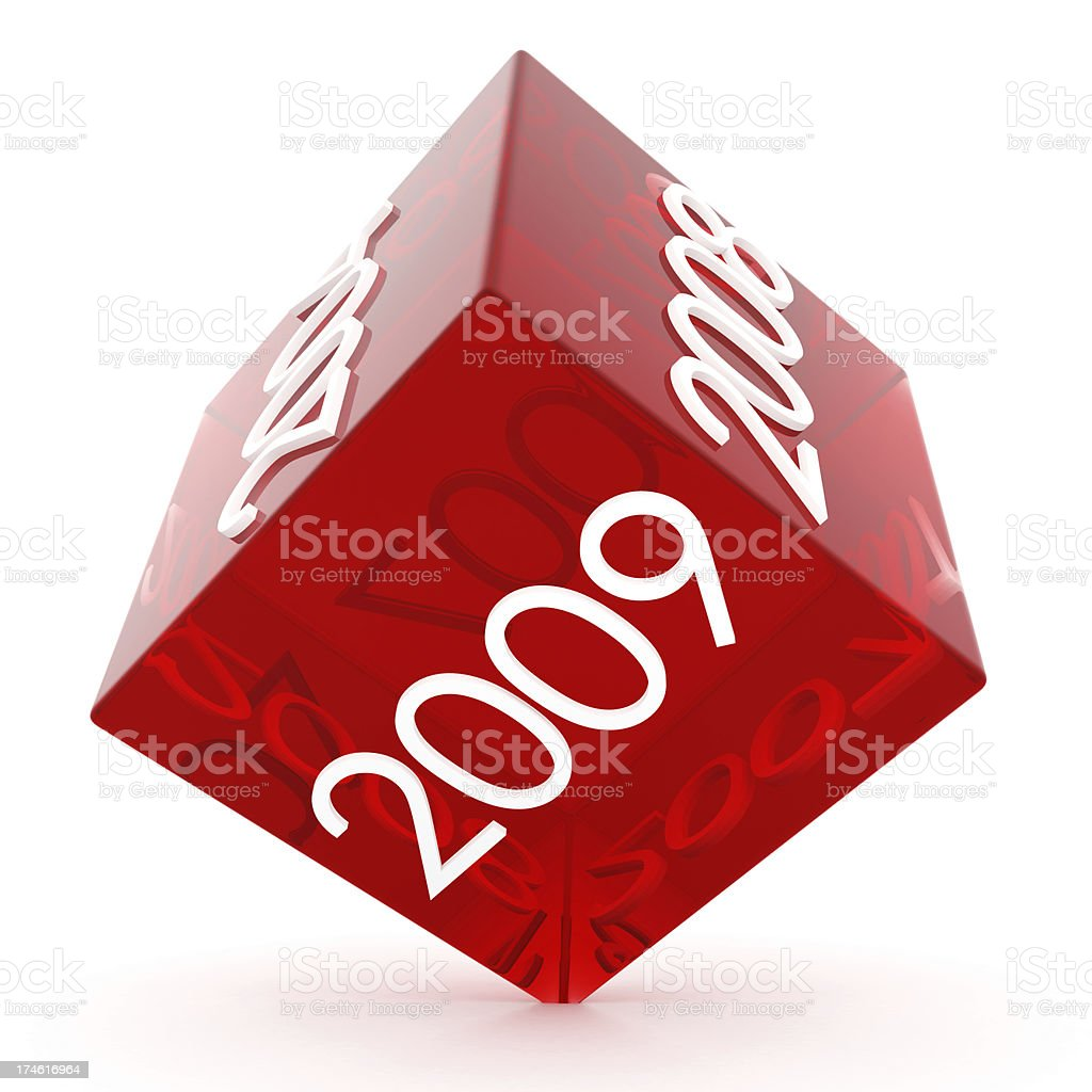 3D Red Glass dice with 2009 royalty-free stock photo