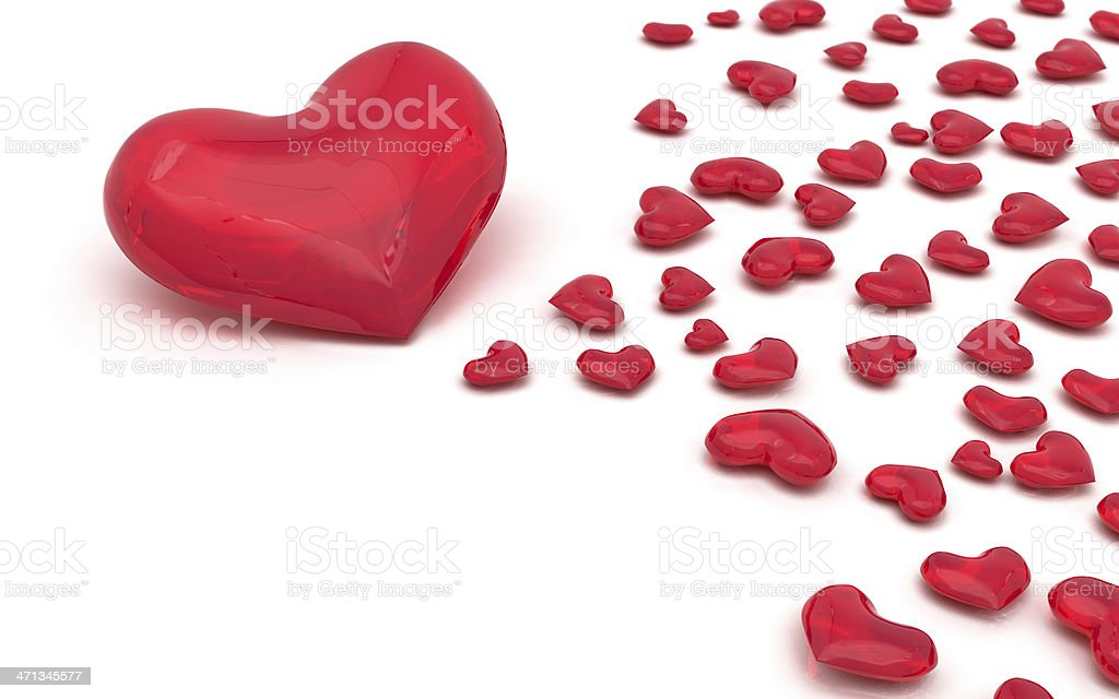 Red Glass Hearts on White Background, with Copyspace (XXXL) -01- royalty-free stock photo