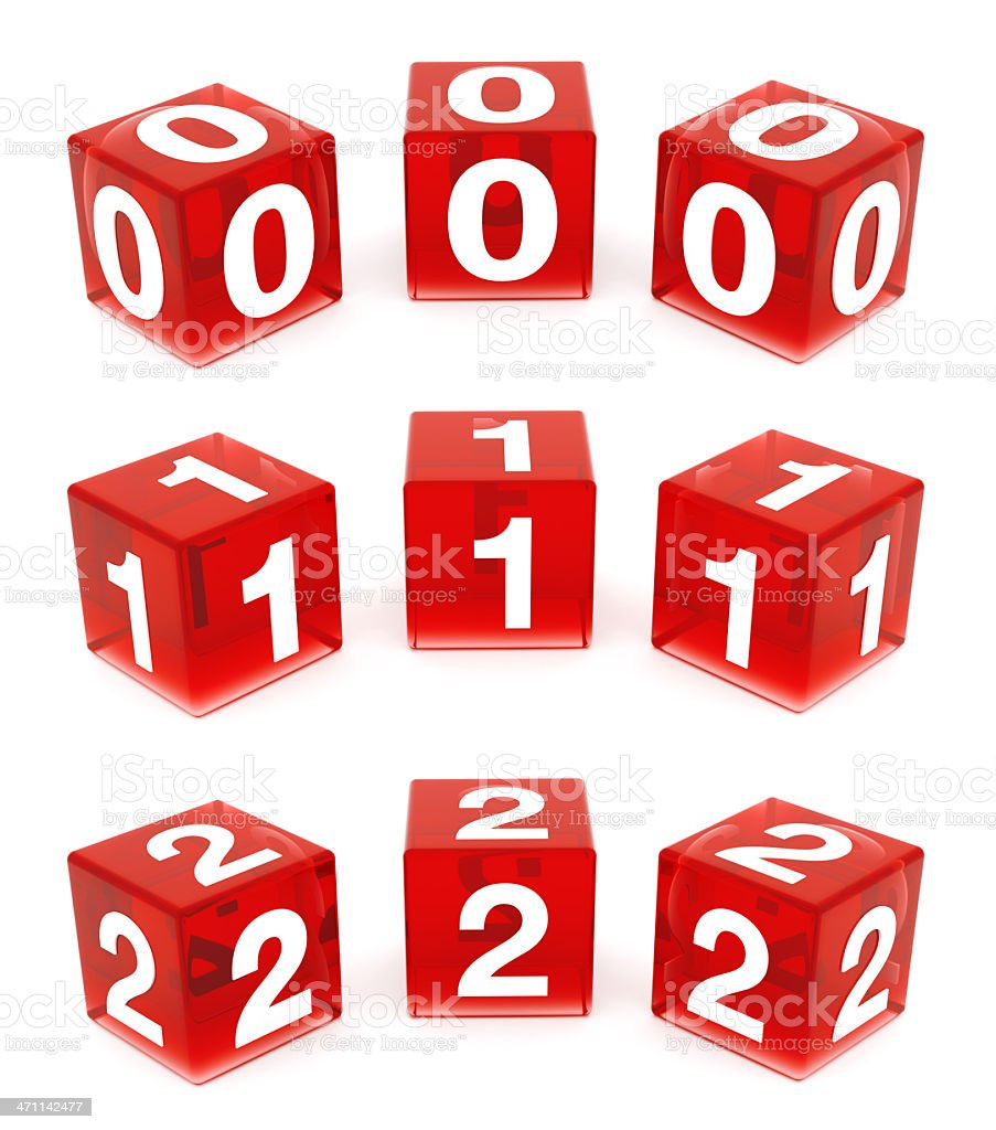 3D Red Glass Numbers : 0,1 & 2 royalty-free stock photo