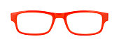 Pair of Red Glasses Front View Cut Out on White.