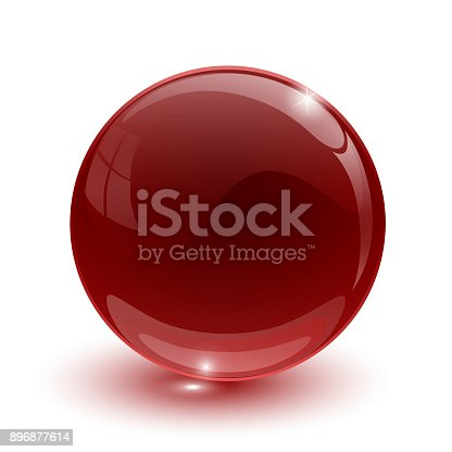 istock Red glassy ball on white background isolated 896877614