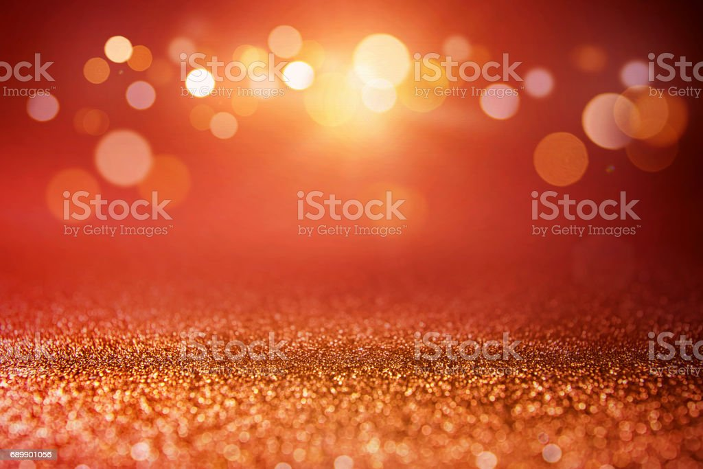 Red glitter and gold lights bokeh background. - foto de stock