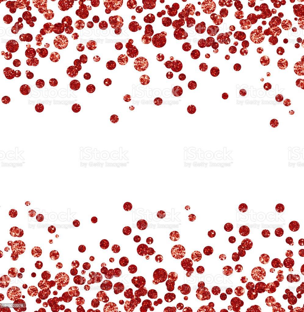 Red glitter confetti borders stock photo