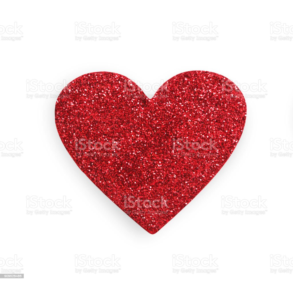 Red glitter heart isolated on white background, valentine day stock photo