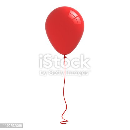 istock Red glossy balloon with curved ribbon rope isolated on white background with window reflection 3D rendering 1150792068