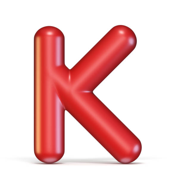 Red glossy font Letter K 3D Red glossy font Letter K 3D rendering illustration isolated on white background k icon stock pictures, royalty-free photos & images