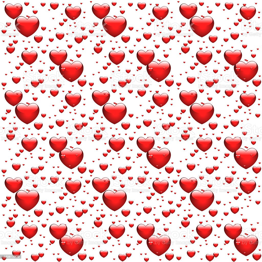 Red glossy hearts on white background stock photo