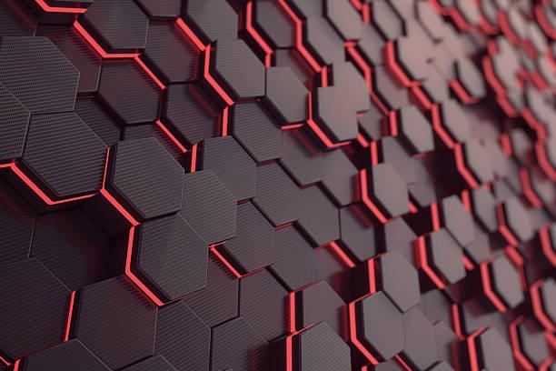 red glowing hexagon futuristic background. 3d rendering - plomb en métal photos et images de collection