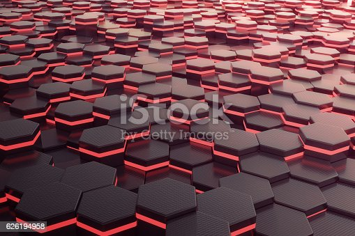 istock Red glowing hexagon futuristic background. 3d rendering 626194958