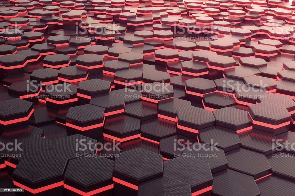 Red glowing hexagon futuristic background. 3d rendering – Foto