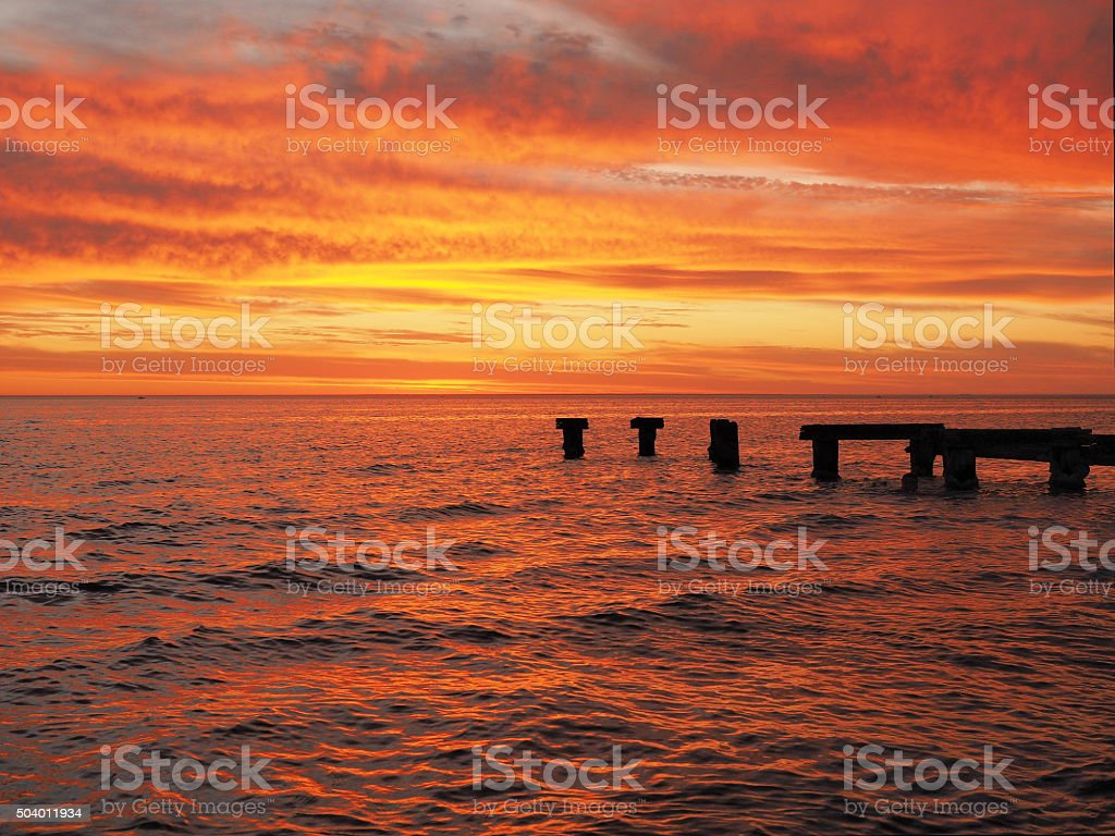 Red glowing ocen and sky at Port Philip Bay stock photo
