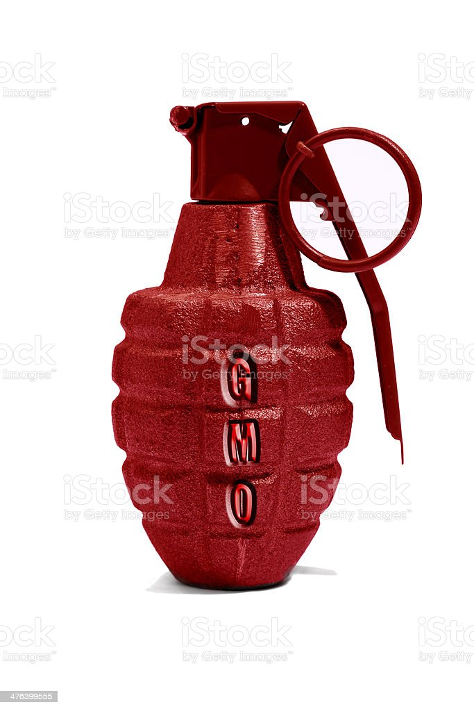 Red GMO Hand Grenade royalty-free stock photo