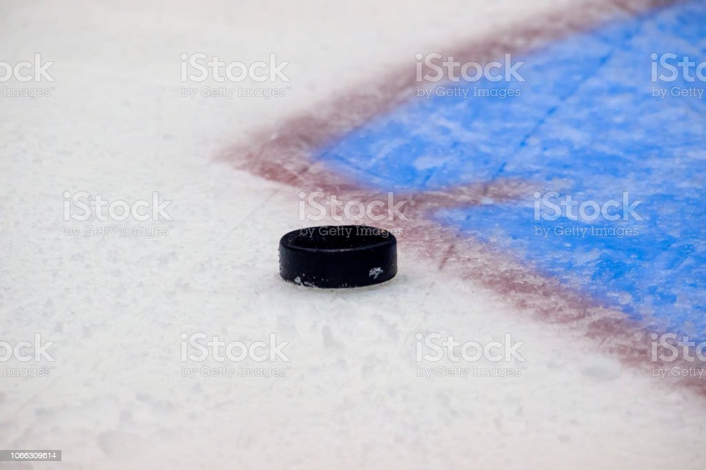 Red goal line on ice hockey rink. Winter sport