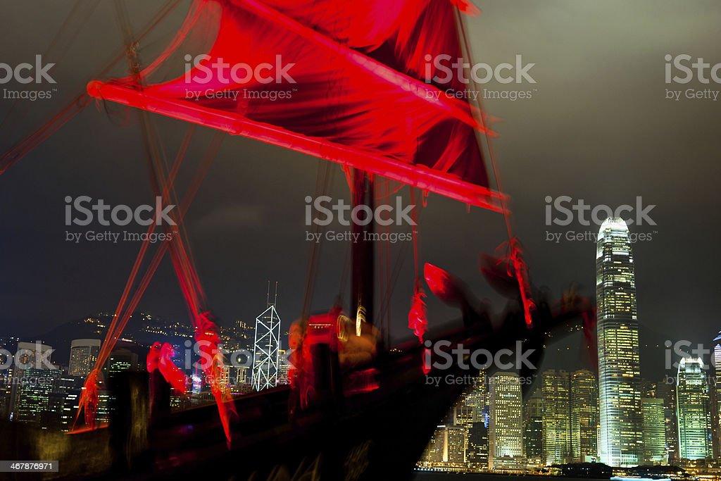 Red Goast Sailing Ship in Hong Kong, China stock photo