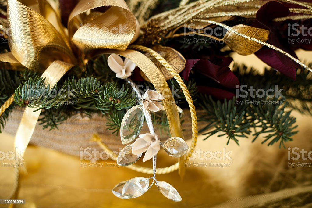 Red Gold And Christmas Table Decoration Stock Photo Download Image