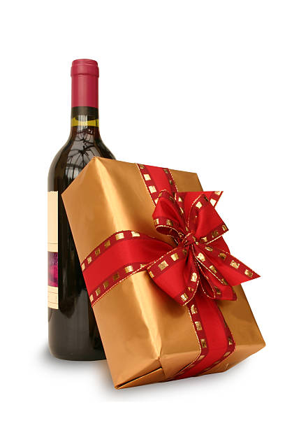 Red, Gold Bow and Wine stock photo