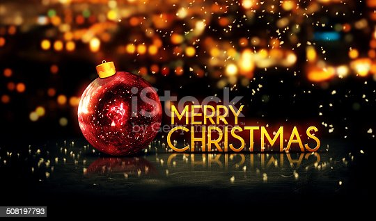 505891566 istock photo Red Gold Merry Christmas Bokeh Beautiful 3D Background 508197793