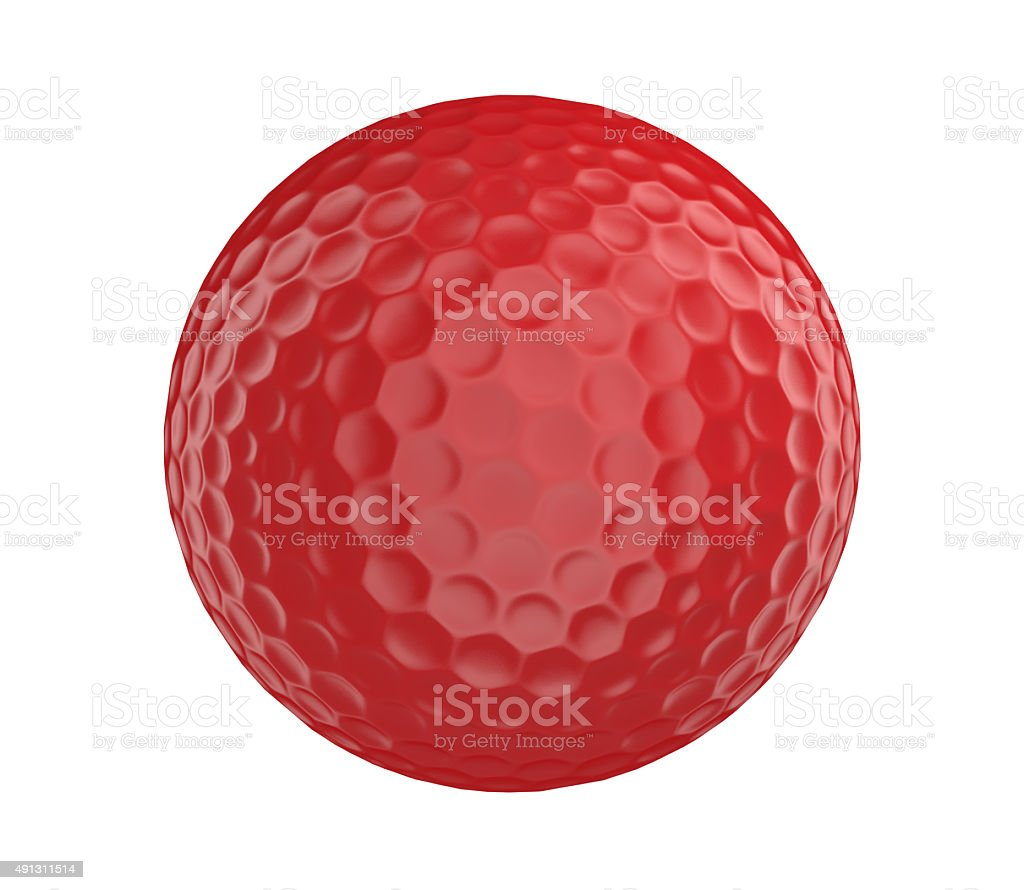 Red golf ball 3D render isolated on a white background stock photo