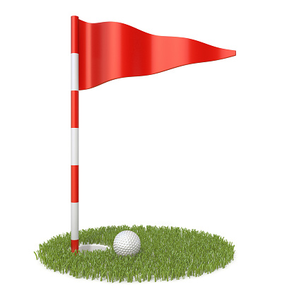 Red golf flag, golf ball and grass hole 3D rendering illustration isolated on white background