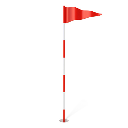 Red golf flag in hole 3D rendering illustration isolated on white background