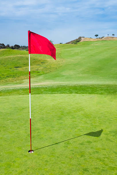 Red Golf Flag stock photo