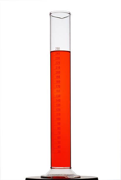 red messzylinder, isoliert auf weiss - messzylinder stock-fotos und bilder