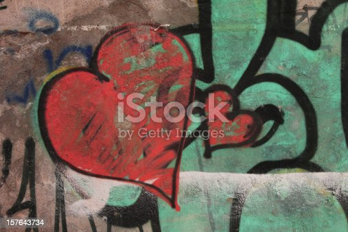 istock Red graffiti hearts on old wall - Love Concept 157643734
