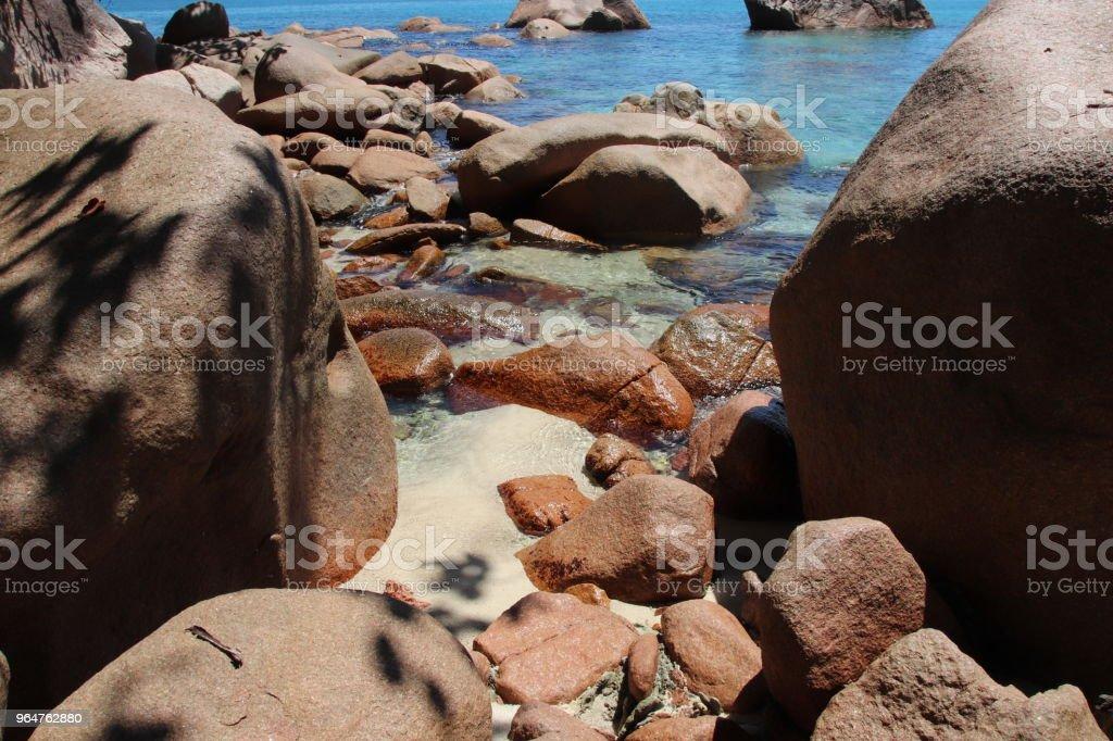 Red Granite Rocks, Beach Anse Lazio, Praslin Island, Seychelles, Indian Ocean, Africa royalty-free stock photo