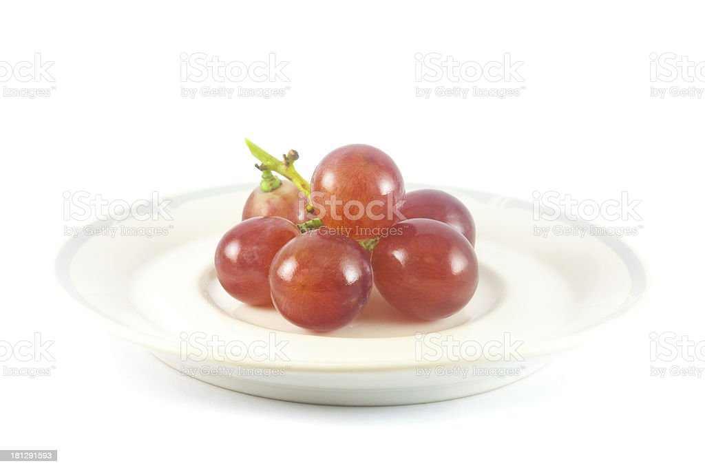 Red Grape on dish royalty-free stock photo
