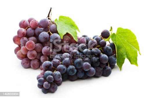 Red Grape with Green Leaf, Isolated on white with soft shadow (clipping path)