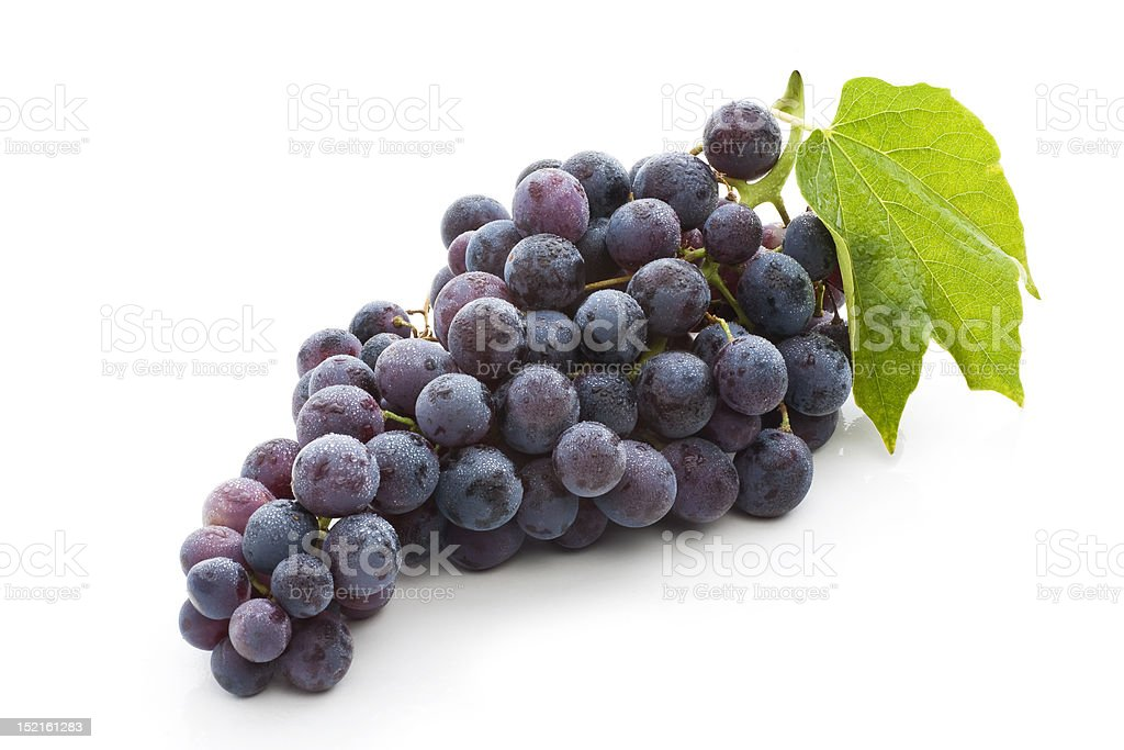 Red Grape With Green Leaf stock photo