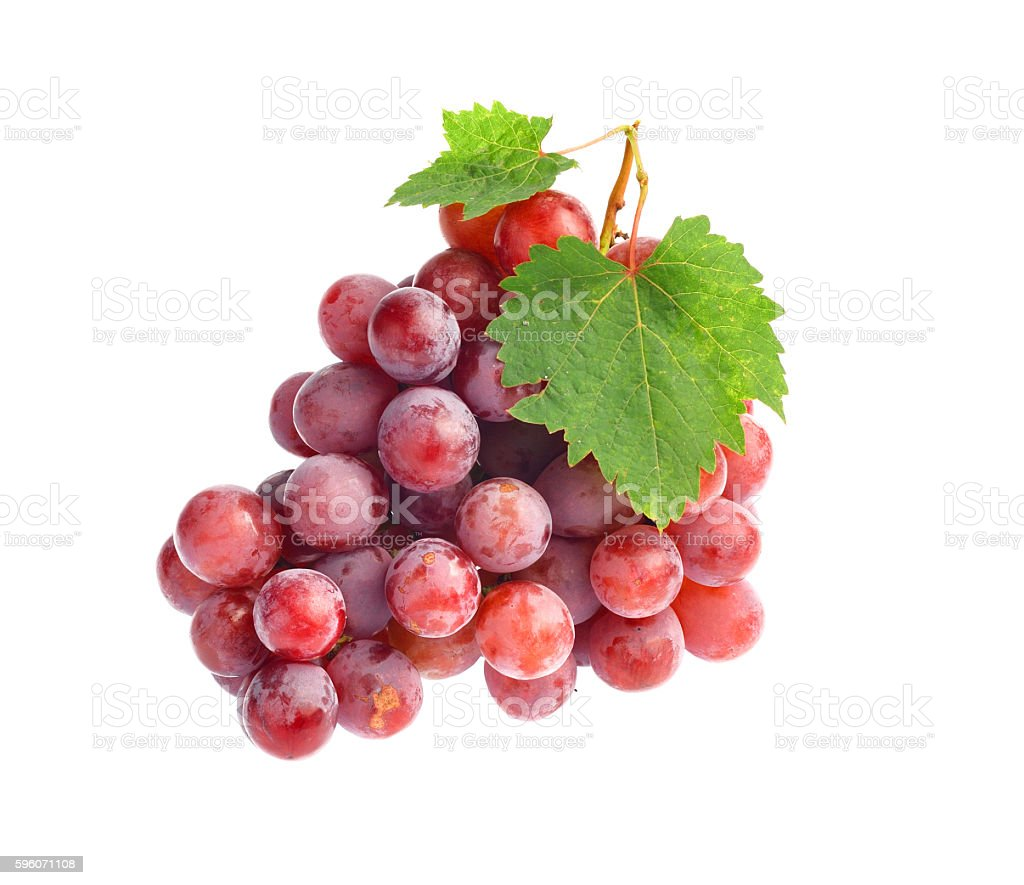Red grape with leaf isolated on white background royalty-free stock photo