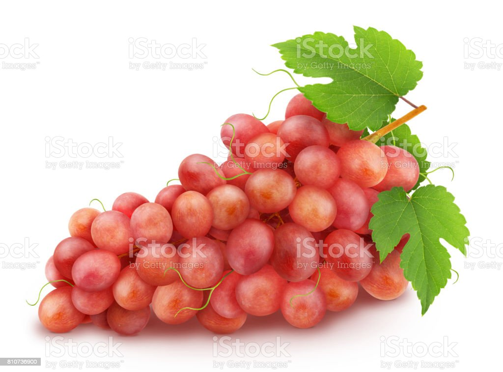 Red grape with leaves isolated on a white stock photo