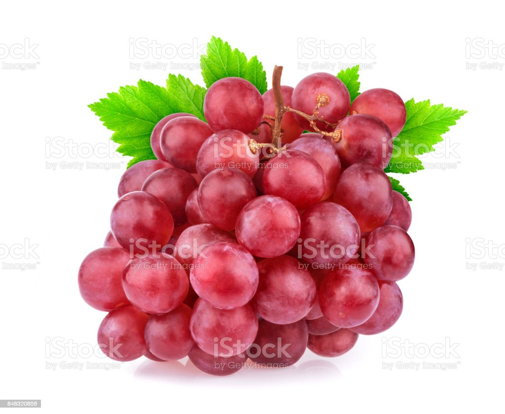 Red grape with leaves isolated on white background. Studio shot stock photo