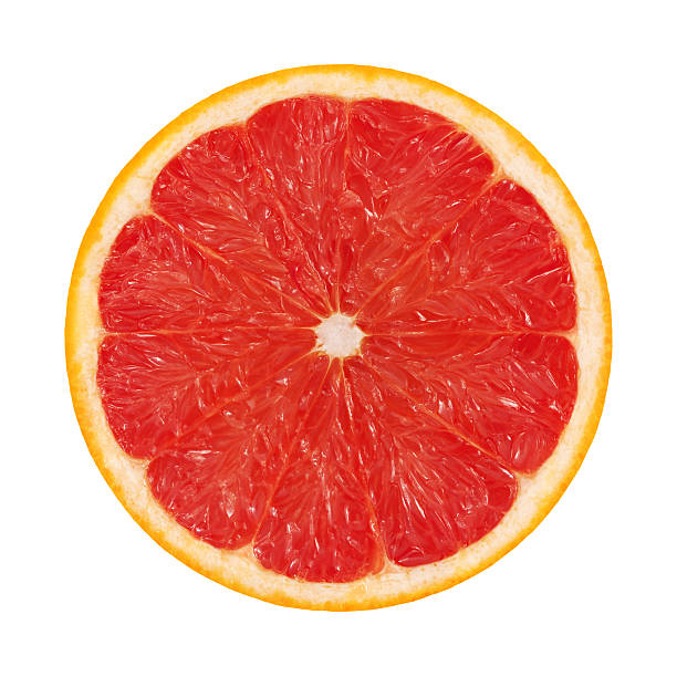 Red Grapefruit Portion On White stock photo